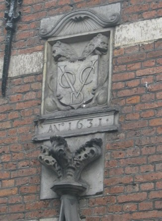 Dutch East India Company insignia on a building in Amsterdam.